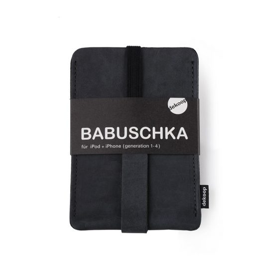 Babuschka iPhone 1-4 in schwarz-nubuk